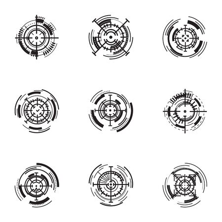 Modern target aim icon set. Simple set of 9 modern target aim vector icons for web design isolated on white background