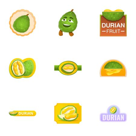 Summer durian logo set. Cartoon set of 9 summer durian vector logo for web design isolated on white background