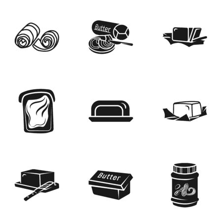 Culinary butter icon set. Simple set of 9 culinary butter vector icons for web design isolated on white background Stock Illustratie