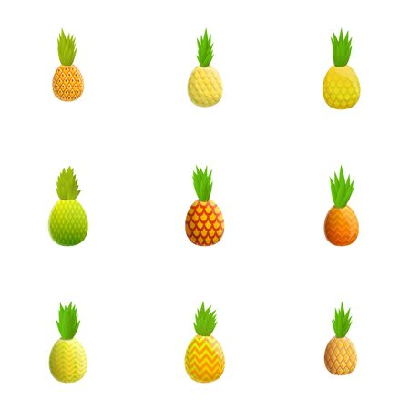 Organic pineapple icon set. Cartoon set of 9 organic pineapple vector icons for web design isolated on white background