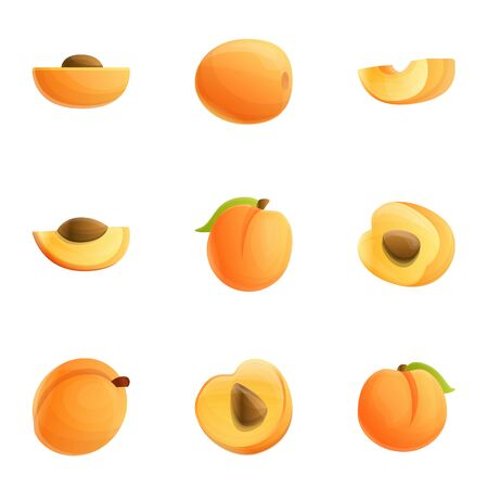 Peach juice icon set. Cartoon set of 9 peach juice vector icons for web design isolated on white background