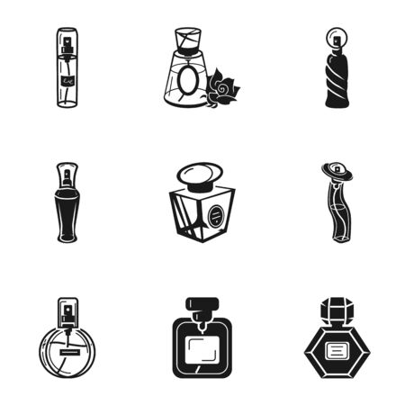 Cologne bottle icon set. Simple set of 9 cologne bottle vector icons for web design isolated on white background Stock Illustratie