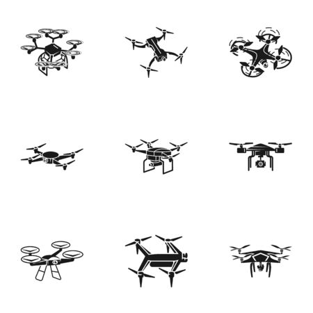 Drone transport icon set. Simple set of 9 drone transport vector icons for web design isolated on white background Stock Illustratie