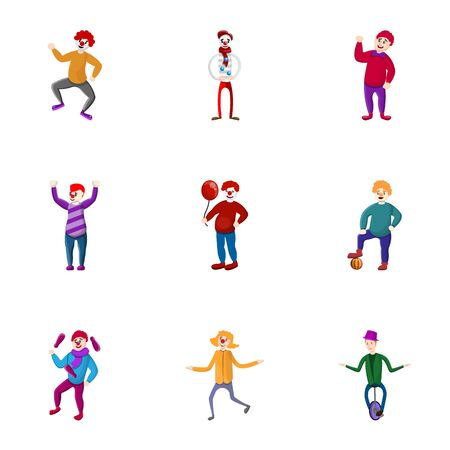 Circus arena clown icon set. Cartoon set of 9 circus arena clown vector icons for web design isolated on white background