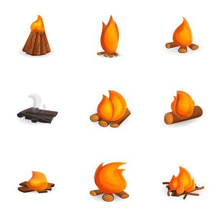 Warm bonfire icon set. Cartoon set of 9 warm bonfire vector icons for web design isolated on white background