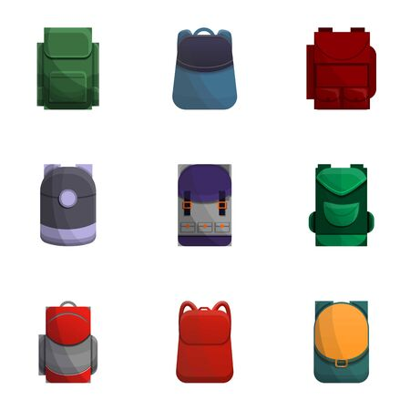 Travel backpack icon set. Cartoon set of 9 travel backpack vector icons for web design isolated on white background Illustration
