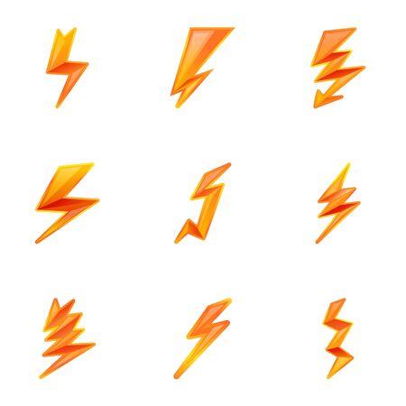 Danger lightning bolt icon set. Cartoon set of 9 danger lightning bolt vector icons for web design isolated on white background