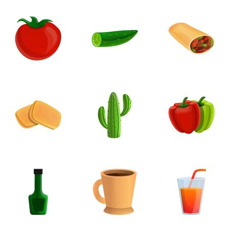 Healthy mexican food icon set. Cartoon set of 9 healthy mexican food vector icons for web design isolated on white background
