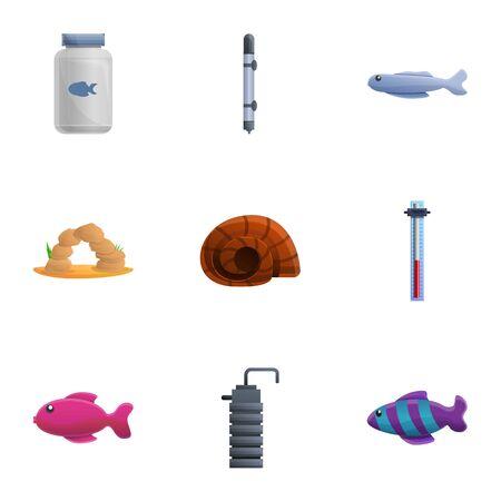 Office aquarium icon set. Cartoon set of 9 office aquarium vector icons for web design isolated on white background