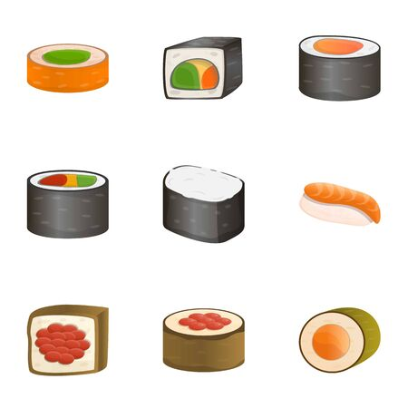 Japan sushi roll icon set. Cartoon set of 9 japan sushi roll vector icons for web design isolated on white background