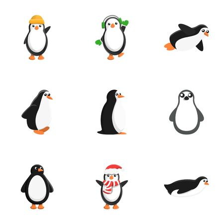 Penguin character icon set. Cartoon set of 9 penguin character vector icons for web design isolated on white background