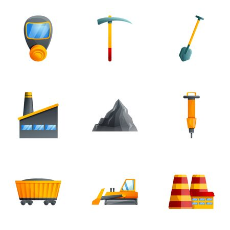 Coal extract factory icon set. Cartoon set of 9 coal extract factory vector icons for web design isolated on white background