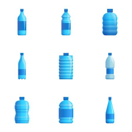 Purify water icon set. Cartoon set of 9 purify water vector icons for web design isolated on white background Ilustracja