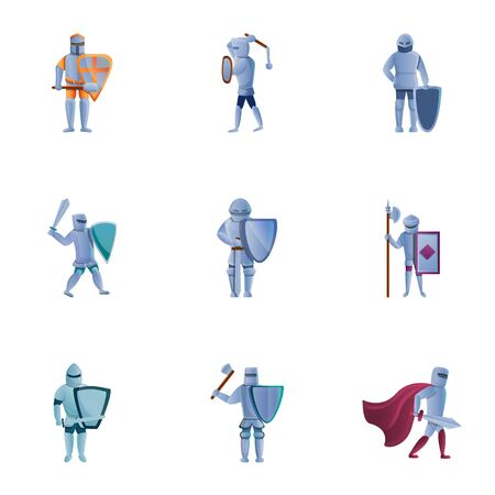 Royal knights icon set. Cartoon set of 9 royal knights vector icons for web design isolated on white background