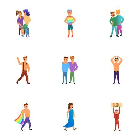 Gay parade icon set. Cartoon set of 9 gay parade vector icons for web design isolated on white background Stock Illustratie