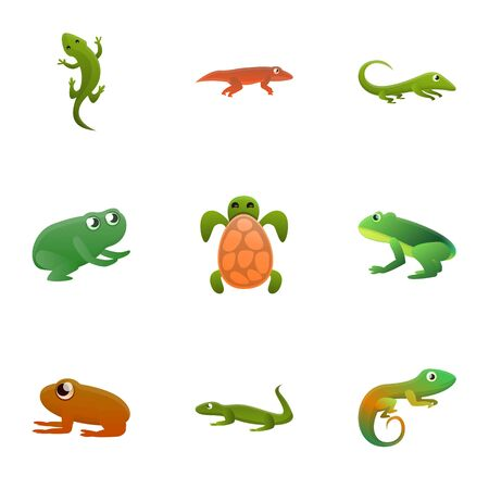 Tropical reptile icon set. Cartoon set of 9 tropical reptile vector icons for web design isolated on white background