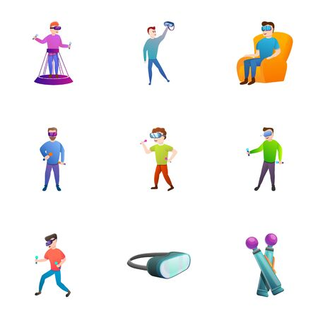 Smart vr goggles icon set. Cartoon set of 9 smart vr goggles vector icons for web design isolated on white background Ilustracja
