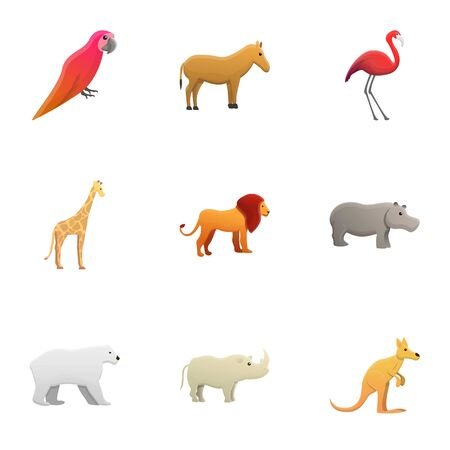 Tropical animals icon set. Cartoon set of 9 tropical animals vector icons for web design isolated on white background