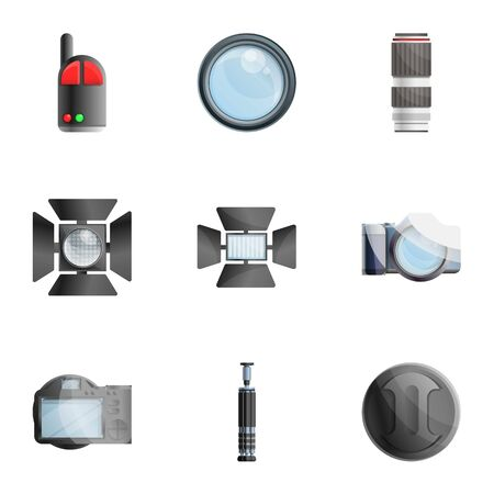 Photo camera icon set. Cartoon set of 9 photo camera vector icons for web design isolated on white background
