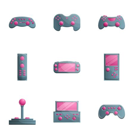 Gamepad icon set. Cartoon set of 9 gamepad vector icons for web design isolated on white background
