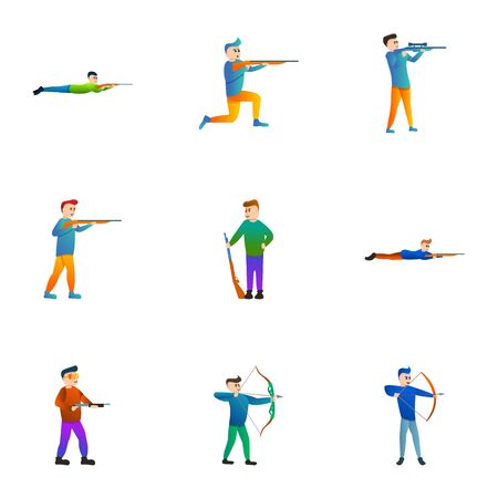 Shooting man icon set. Cartoon set of 9 shooting man vector icons for web design isolated on white background