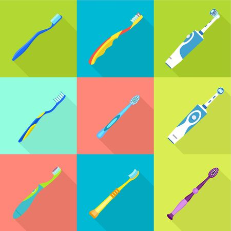 Classic toothbrush icon set. Flat set of 9 classic toothbrush vector icons for web design isolated on white background