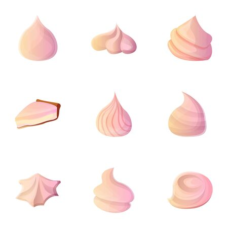 Foam meringue icon set. Cartoon set of 9 foam meringue vector icons for web design isolated on white background
