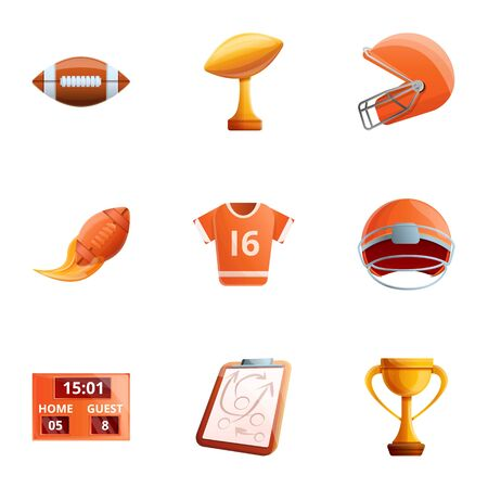 American football object icon set. Cartoon set of 9 american football object vector icons for web design isolated on white background