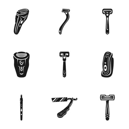 Shaver trimmer icon set. Simple set of 9 shaver trimmer vector icons for web design isolated on white background Ilustracja