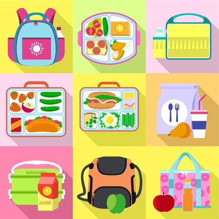 Snack lunch bag icon set. Flat set of 9 snack lunch bag vector icons for web design isolated on white background