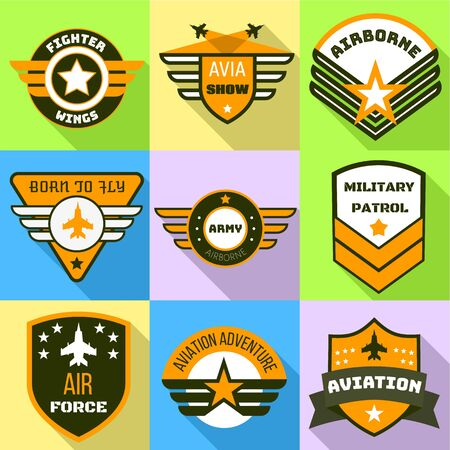 Army logo set. Flat set of 9 army vector logo for web design isolated on white background