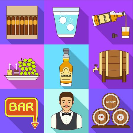 Whiskey bar icon set. Flat set of 9 whiskey bar vector icons for web design isolated on white background Ilustracja
