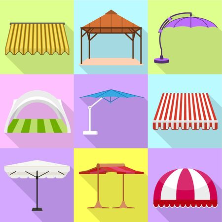 Gazebo icon set. Flat set of 9 gazebo vector icons for web design isolated on white background Ilustracja