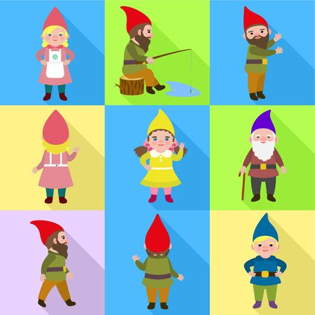 Little gnome icon set. Flat set of 9 little gnome vector icons for web design isolated on white background