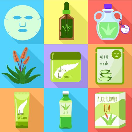 Aloe vera organic cosmetic icon set. Flat set of 9 aloe vera organic cosmetic vector icons for web design isolated on white background