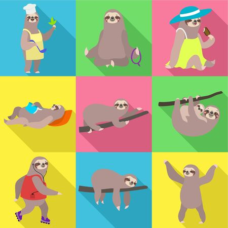 Funny sloth icon set. Flat set of 9 funny sloth vector icons for web design isolated on white background