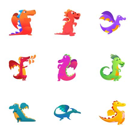 Funny dragons icon set. Cartoon set of 9 funny dragons vector icons for web design isolated on white background