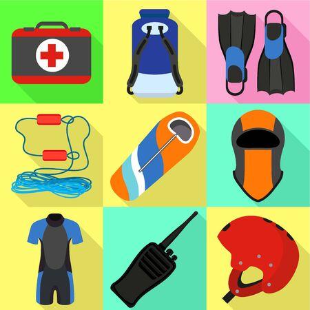 Extreme kayak equipment icon set. Flat set of 9 extreme kayak equipment vector icons for web design isolated on white background