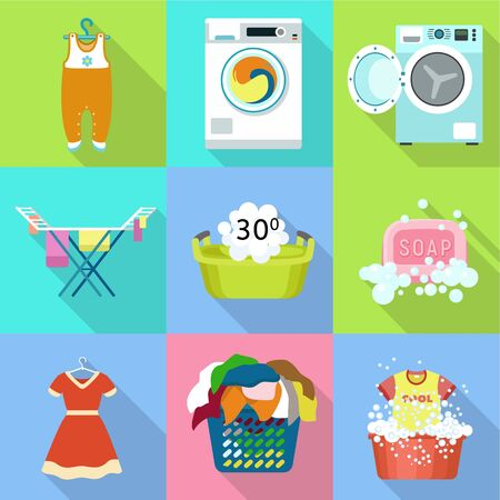 Home washing clothes icon set. Flat set of 9 home washing clothes vector icons for web design isolated on white background Stock Illustratie