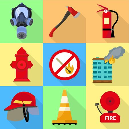 City firefighter icon set. Flat set of 9 city firefighter vector icons for web design isolated on white background