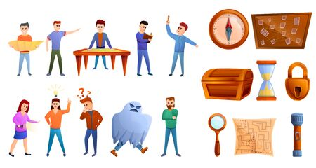 Quest game icons set. Cartoon set of quest game vector icons for web design