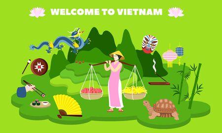 Welcome to Vietnam country concept banner. Flat illustration of welcome to Vietnam country vector concept banner for web design Illusztráció
