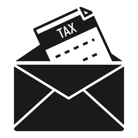 Tax mail icon. Simple illustration of tax mail vector icon for web design isolated on white background