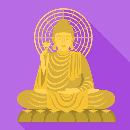 Vietnam Buddha statue icon. Flat illustration of Vietnam Buddha statue vector icon for web design Standard-Bild - 129084747