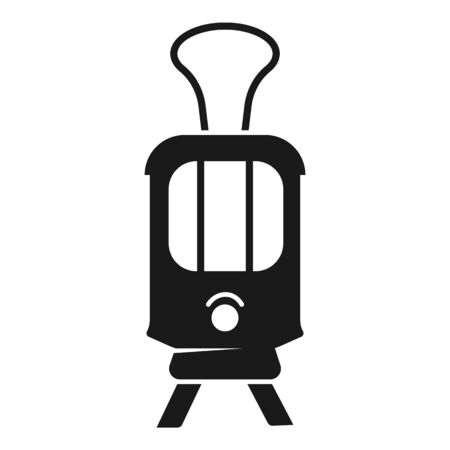 Front tram car icon. Simple illustration of front tram car vector icon for web design isolated on white background Ilustrace