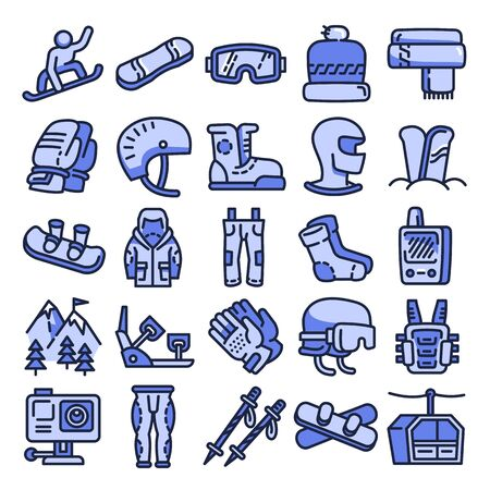 Snowboarding equipment icons set. Outline set of snowboarding equipment vector icons for web design isolated on white background
