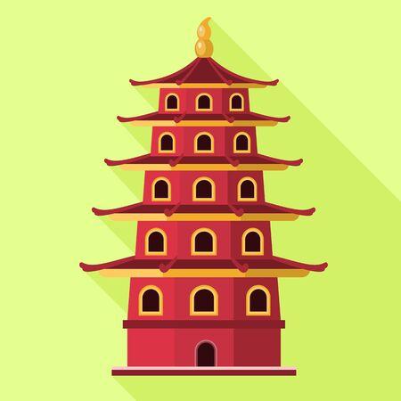 Vietnam red building icon. Flat illustration of Vietnam red building vector icon for web design