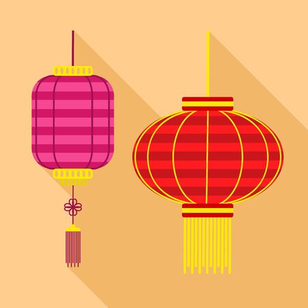 Colorful asian street lamp icon. Flat illustration of colorful asian street lamp vector icon for web design