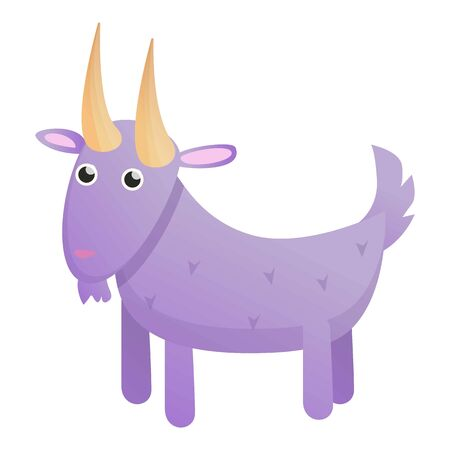 Violet goat icon. Cartoon of violet goat vector icon for web design isolated on white background