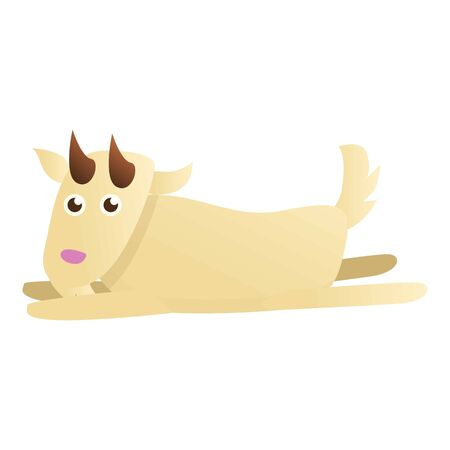 Goat lay on ground icon. Cartoon of goat lay on ground vector icon for web design isolated on white background